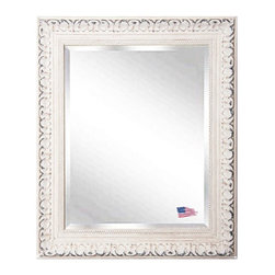 Rayne Mirrors - American Made Distressed French Victorian White Beveled Wall Mirror - Add some romantic reflection to you decor with this distressed ivory, French Victorian style wall mirror.   The carved detailing and  old time worn white finishes wonderfully replicates design from the Victorian era.  The mirror features  generous one inch beveled edge for a touch of elegance.  Rayne's American Made standard of quality includes; metal reinforced frame corner  support, both vertical and horizontal hanging hardware installed and a manufacturers warranty.
