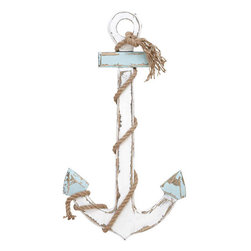 Benzara - Wood Anchor 28in.H, 15in.W Nautical Maritime Decor - Size: 15 Wide x 1 Depth x 28 High (Inches)