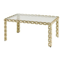 """Currey and Company - Betty June Cocktail Table by Currey and Company - A heavy chain link pattern bordering the Betty June Console is softened and updated with a dusky brass finish. It's transitional style facilitates versatility with numerous home styles. This table is simplistic enough, that it can stand on the busiest of carpet patterns or be equally as striking on a solid surface. (CR) 23"""" deep x 37"""" wide x 18"""" high"""