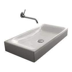 "WS Bath Collections - Cento 3556 Counter Top Ceramic Sink 27.6"" x 13.8"" - Cento by WS Bath Collections Bathroom Sink 27.6 x 13.8, Designed by Marc Sadler of Italy, counter top installation, in ceramic white"