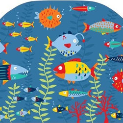 "Brewster Home Fashions - Fish Tales Headboard Decal - A headboard gives a completed look to the bed bringing a welcoming touch to the whole room. This peel & stick fish theme decal is super cute for kids decor. Deep sea fish friends frolic in an underwater scene full of coral and bubbles. Colorful fish swim in both directions through the cool blue water adding a nautical chic detail to your child's bedroom. Get the stylish look of a custom headboard with ease our headboard decal is easy to use and looks fantastic! Measures 26""x41"""