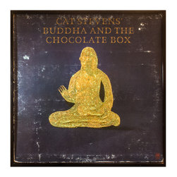 """Glittered Cat Stevens 'Buddha and the Chocolate Box' Album - Glittered record album. Album is framed in a black 12x12"""" square frame with front and back cover and clips holding the record in place on the back. Album covers are original vintage covers."""