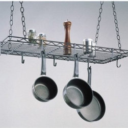 Sophie's Pot Rack - This durable handy pot rack is ideal to hang above the center island of a kitchen. Use the center grid as an extra shelf even while it keeps your pots and pans hanging within easy reach. This pot rack comes with 8 pot hooks and two 4-foot pieces of adjustable chain. Learn How To Hang This Pot Rack With Our