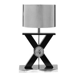 Kathy Kuo Home - Xander Modern Loft Silver Criss Cross Table Lamp - X marks the awesome! The Xander table lamp is a fabulous, eye-catching piece that belongs in an equally fabulous modern loft or contemporary Hollywood regency home.  Rest assured, no one else will have this absolutely unique, criss-cross shaped, polished chrome-shaded light.