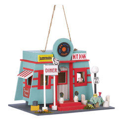 KOOLEKOO - Fifties Diner Birdhouse - Rock and roll roadhouse brings back the good old times of the fifties! Charming lifelike details including a miniature burger and milkshake make this bird palace a fanciful addition to your garden.