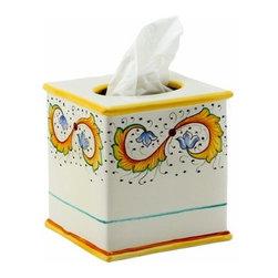 Artistica - Hand Made in Italy - Perugino: Square Tissues Box Cover - Perugino Collection: The Perugino pattern is an Artistica's exclusive. It was inspired by the Deruta's classic Raffaellesco a design that traces his origins from the XVI Century graceful arabesques of painter Raphael famous frescoes.