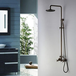Shower Faucets - Antique Brass Tub Shower Faucet with 8 Inch Shower Head and Hand Shower-- FaucetSuperDeal.com
