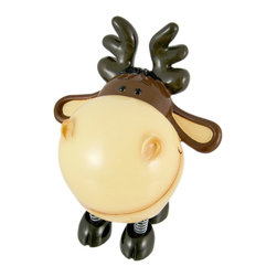 Zeckos - Darling Moose Piggy Bank with Spring Legs Money - This cool cold cast resin North American moose money bank really brightens up a room. The moose features wonderful whimsical detail and has springs on all four legs, so he shakes a bit when you drop money in. The moose measures 7 1/4 inches tall, 6 inches wide and 4 1/2 inches deep. The bank empties via a twist-off plastic piece on the bottom. It is hand-painted, and makes a great gift for moose lovers.