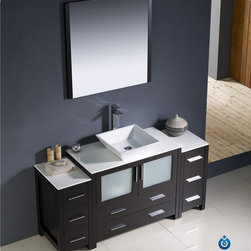 """Fresca - Fresca Torino 60"""" Modern Single Vessel Sink Vanity Set w/ 2 Side Cabinets - Fresca is pleased to usher in a new age of customization with the introduction of its Torino line. The frosted glass panels of the doors balance out the sleek and modern lines of Torino, making it fit perfectly in either 'Town' or 'Country' decor. Available in the rich finishes of Espresso, Glossy White, Light Oak and Walnut Brown, all of the vanities in the Torino line come with either a ceramic vessel bowl or the option of a sleek modern ceramic integrated sink."""