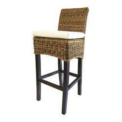 Marco Polo Imports - Goa Barstool with Cushion, Natural - The Goa bar stool combines fitted lines with elegant texture, perfect for bringing the outdoors in. This comfortable chair is made from all natural banana leaf, abaca and mango wood. Available in Natural and Grey.
