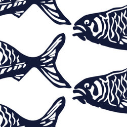 School O Fish - A school of block printed fish swim across a linen/cotton fabric. NEW! Upholstery-weight, hand screen-printed.