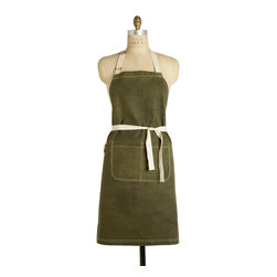 "Birdkage - Olive Waxed Classic Bib Apron - Birdkage - From Birdkage's new ""Heritage"" collection, inspired by rugged American tradition.  The Olive style is made of waxed olive heavyweight cotton canvas and has a distinct ""grid"" pattern to it."