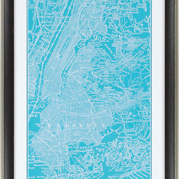 Paragon Decor - Map of New York Artwork - Map is matted in white and framed in dark wood finish molding with antique silver edge.