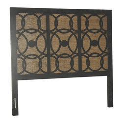 Jeffan International - Sumba Queen Size Headboard w Wicker Accents - Modern design. Made from MDF with wicker accents. Made in Indonesia. No assembly required. 62 in. L x 2 in. W x 60 in. H
