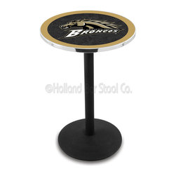 Holland Bar Stool - Holland Bar Stool L214 - Black Wrinkle Western Michigan Pub Table - L214 - Black Wrinkle Western Michigan Pub Table belongs to College Collection by Holland Bar Stool Made for the ultimate sports fan, impress your buddies with this knockout from Holland Bar Stool. This L214 Western Michigan table with round base provides a commercial quality piece to for your Man Cave. You can't find a higher quality logo table on the market. The plating grade steel used to build the frame ensures it will withstand the abuse of the rowdiest of friends for years to come. The structure is powder-coated black wrinkle to ensure a rich, sleek, long lasting finish. If you're finishing your bar or game room, do it right with a table from Holland Bar Stool. Pub Table (1)