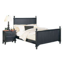 Homelegance - Homelegance Pottery 4-Piece Panel Bedroom Set - Distinguished by matching slat-detailed head and footboard, bedpost finials and matching bun feet, beds like these will always have a widespread appeal amongst folks who see home as where the heart is. A black finish completes the look and appeal of the Pottery black panel bed.