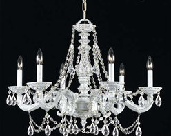 Crystorama Lighting Group - Hampton Antique White Ornate Chandelier Draped with Clear Hand Cut Crystal - -Features Majestic Wood Polished Crystal  Crystorama Lighting Group - 5026-AW-CL-MWP