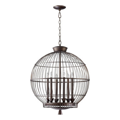 Cyan Design - Cyan Design Bird Cages Hendricks Transitional Foyer Light - Achieve satisfaction with the Cyan Design Bird Cages Hendricks Transitional Foyer Light. Resembling a gorgeous birdcage, the frame is round and has a Oiled Bronze finish. The fixtures houses six lamps instead of a bird allowing a pleasant glow to ignite.