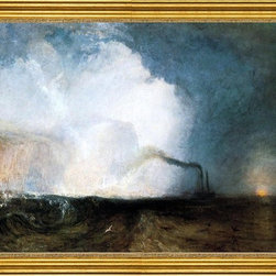 """Joseph William Turner-18""""x24"""" Framed Canvas - 18"""" x 24"""" Joseph William Turner Staffa, Fingal's Cave framed premium canvas print reproduced to meet museum quality standards. Our museum quality canvas prints are produced using high-precision print technology for a more accurate reproduction printed on high quality canvas with fade-resistant, archival inks. Our progressive business model allows us to offer works of art to you at the best wholesale pricing, significantly less than art gallery prices, affordable to all. This artwork is hand stretched onto wooden stretcher bars, then mounted into our 3"""" wide gold finish frame with black panel by one of our expert framers. Our framed canvas print comes with hardware, ready to hang on your wall.  We present a comprehensive collection of exceptional canvas art reproductions by Joseph William Turner."""