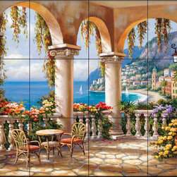 The Tile Mural Store (USA) - Tile Mural - Sk - Terrace Arch I - Kitchen Backsplash Ideas - This beautiful artwork by Sung Kim has been digitally reproduced for tiles and depicts an arched patio overlooking the mediterranean.  This garden tile mural would be perfect as part of your kitchen backsplash tile project or your tub and shower surround bathroom tile project. Garden images on tiles add a unique element to your tiling project and are a great kitchen backsplash idea. Use a garden scene tile mural for a wall tile project in any room in your home where you want to add interesting wall tile.