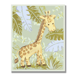 Stupell Industries - Giraffe in Jungle Rectangle Wall Plaque - Made in USA. MDF Fiberboard. Hand finished and packed. Approx. 15 in. W x 11 in. L. 0.5 in. ThickThe Kids Room by Stupell features exceptional handcrafted wall decor for children of all ages.  Using original art designed by in-house artists, all pieces feature hand painted and grooved borders as well as colorful grosgrain ribbon for hanging.  Made in the USA, everything found in The Kids Room by Stupell exudes extraordinary detail with crisp vibrant color. Whether you are looking for one piece to match an existing room's theme, or looking for a series to bring the kid's room to life, you will most definitely find what you are looking for in The Kids Room by Stupell.