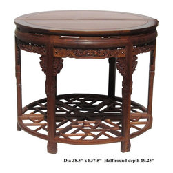 Chinese Huali Rosewood Carved Round Table - This is a traditional Chinese Huali rosewood round table combined by two half-round tables. It is a nice elegant pedestal table for room center or against the wood.