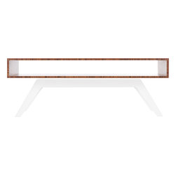 """Eastvold Furniture - Elko Coffee Table, Bamboo, White Base - A choice of six powder-coated bases gives you plenty of ways to ask, """"Coffee or tea?"""" The lines are timeless on this midcentury meets modern table. There's storage to spare in and on the sleek 45-by-17-inch bamboo top, which boasts reinforced mitered joints for seamless style."""