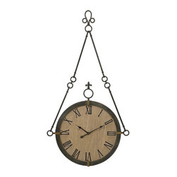 Oversize Vintage Hanging Fleur de Lis Wall Clock - *Carolyn Kinder designed traditional hanging wall clock