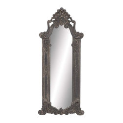 Benzara - Gothic Style Wood Wall Mirror in Ash Wood - Gothic Style Wood Wall Mirror in Ash Wood Finish. Truly gothic in look and texture, this wood wall mirror will remind you of ancient castles and majestic lands, when knights roamed the land and fair maidens would wax and wane their hair and admire their features in a mirror just like this one. The dimensions of the wood wall mirror are 19 x 2 x 60. Some assembly may be required.