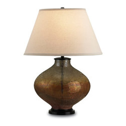 Currey and Company - Pezzato Table Lamp - An unusual art glass lamp with patina. The shade is oval bone linen.
