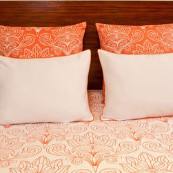 vintagemaya - SOLFERINO WHITE AND CORAL - QUEEN DUVET COVER AND SHAM (5 PIECE) SET - The Solferino Queen includes a white duvet cover and handcrafted coral with white euro sham. Inspired by Art Nouveau, the Solferino Queen features a floral scroll design blooming into opulent petals. Passed down through many generations, skilled artisans capture the essence of Art Nouveau with a harmonic blend of both nature and hand screen printing. The Solferino Queen includes two white pillow shams, trimmed in coral piping, illuminating the florets blossoming across the white duvet cover. The Solferino Queen also includes two decorative euro shams, hand printed with the same floral pattern with inverse coral color designs. Bring harmony of nature to luxury bedding with the Art Nouveau inspired Solferino Queen.