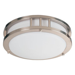 """Quorum International - Quorum International 87210-1-65 Satin Nickel Energy Saving Single - Features:  Flush mount installation Energy saving Acrylic globe Down lighting Can be installed as a wall fixture  Specifications:  Height: 3.25"""" Width: 10.5"""" Number of bulbs: 1 (included) Bulb type: Fluorescent 22W T9"""