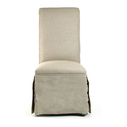 Skirted Side Chair - A simple choice for the classic home, the Skirted Side Chair is fully draped in upholstery to make the upright back and hanging legs feel almost seamless. Frequently selected for contemporary dining rooms because of its banquet associations, this design also suits the traditional home surprisingly well, serving as a vanity stool or side chair with clean grace.
