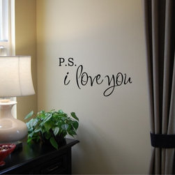 PS I Love You Vinyl Wall Decal by Home Sweet Walls - Write it on the walls. I adore this wall art decal — just imagine opening your eyes to this.
