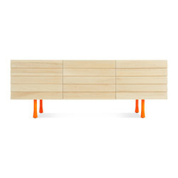 Blu Dot - Lap 2 Door / 2 Drawer Dresser, Maple / Orange - Overlapping wood drawer and door fronts give the collection its name, while the white washed maple finish and a scene stealing leg bring the visual charisma. With soft close doors and drawers. Three leg finish options available.