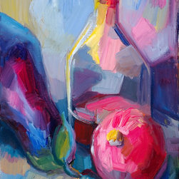 """""""Still Life With Aubergine, Pomegranate And Brandy"""" Artwork - An original oil painting on linen mounted on board"""