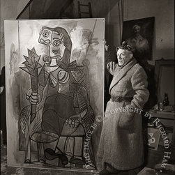 Richard Ham, Picasso Standing with Painting, Photograph - Artist:  Richard Ham, American (1920 - )