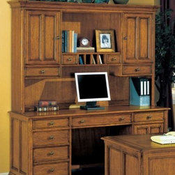 Wynwood - Wynwood Halton Hills Credenza and Hutch Unit in Toasted Oak - Stay organized and be productive in your home office with this traditional styled Halton Hills Credenza and Hutch Unit by Wynwood Furnitures. Perfect for setting up your computer workstation with a CPU storage cabinet and drop down, roll-out keyboard tray. Keep important files close, with the lateral file drawer and easily access office supplies stored in the other pedestal drawers. Enjoy extra storage with two wooden door hutch cabinets, each having an adjustable shelf. Pigeon hole compartments, and additional drawers offer more places to store and organize your office essentials. With a toasty oak finish and aged brass hardware, your office will have a clean and sophisticated look.