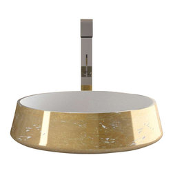 "Art Design - EXTE Lux ALUEXTELWG Round Vessel Sink in Aluminum with Gold Leaf Finish 16.5"" - Vessel Bathroom Sink"