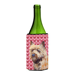 Caroline's Treasures - Cairn Terrier Hearts Love Valentine's Day Portrait Wine Bottle Koozie Hugger - Cairn Terrier Hearts Love and Valentine's Day Portrait Wine Bottle Koozie Hugger Fits 750 ml. wine or other beverage bottles. Fits 24 oz. cans or pint bottles. Great collapsible koozie for large cans of beer, Energy Drinks or large Iced Tea beverages. Great to keep track of your beverage and add a bit of flair to a gathering. Wash the hugger in your washing machine. Design will not come off.