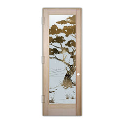 "Sans Soucie Art Glass (door frame material T.M. Cobb) - Interior Glass Door Sans Soucie Art Glass Bonsai Negative - Sans Soucie Art Glass Interior Door with Sandblast Etched Glass Design. GET THE PRIVACY YOU NEED WITHOUT BLOCKING LIGHT, thru beautiful works of etched glass art by Sans Soucie!  THIS GLASS IS SEMI-PRIVATE.  (Photo is View from OUTside the room.)  Door material will be unfinished, ready for paint or stain.  Satin Nickel Hinges. Available in other wood species, hinge finishes and sizes!  As book door or prehung, or even glass only!  1/8"" thick Tempered Safety Glass.  Cleaning is the same as regular clear glass. Use glass cleaner and a soft cloth."