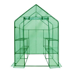 King Service Holding Inc - Ogrow Deluxe Walk-In Greenhouse with Cover - 2-Tier 8-Shelf - OG6868-PE - Shop for Greenhouses from Hayneedle.com! Your dreams of owning a greenhouse are about to come true thanks to the Ogrow Deluxe Walk-In Greenhouse with Cover - 2-Tier 8-Shelf! It s ideal for patios and yards and gives you a head start on the growing season. The frame and shelving is made from heavy-duty steel which has been powder-coated to resist rust. The walk-in design provides a roomy workspace and allows for easy access to all of your plants while giving them room to grow. Any heavy pots trays bags and tools are safely housed on the eight shelves which are open-wire and perfect for hanging baskets. The cover is made from reinforced green polyethylene to protect from both high and low temperatures dust and pests. It rolls up for easy access to your garden workspace and to allow ventilation and moisture control. Ogrow designs with convenience in mind and ensures that no hardware is need for assembly. Instead high quality plastic connectors are used to secure the cover to the frame making for a quick setup. Specification: Note - Ties to attach the shelves to the frame and anchors to attach the greenhouse to the ground are not included in this purchase.