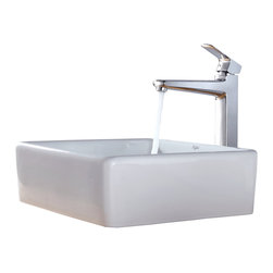 Kraus - Kraus White Square Ceramic Sink and Virtus Faucet Chrome - *Add a touch of elegance to your bathroom with a ceramic sink combo from Kraus