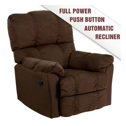 Flash Furniture - Contemporary Top Hat Chocolate Microfiber Power Recliner - Contemporary Top Hat Coffee Microfiber Power Recliner