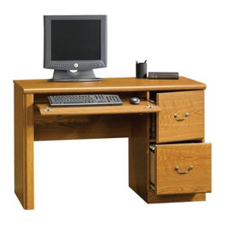 Sauder - Orchard Hills Computer Desk in Carolina Oak F - Flip-down molding reveals slide-out keyboard and mouse shelf. Metal runners and safety stops. Hidden storage behind simulated drawer front and door. Lower drawer holds letter-size hanging files. Patented T-lock drawer system. Made of engineered wood. Assembly required. 47 in. W x 21 in. D x 30 in. H. Optional hutch: 47 in. W x 13 in. D x 41 in. H