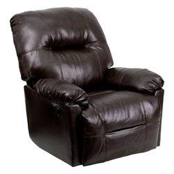 Flash Furniture - Contemporary Bentley Brown Leather Chaise Power Recliner - Contemporary Bentley Brown Leather Chaise Power Recliner