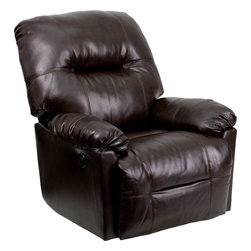 Flash Furniture - Contemporary Bentley Brown Leather Chaise Power Recliner - Contemporary Bentley Brown Leather Chaise Power Recliner