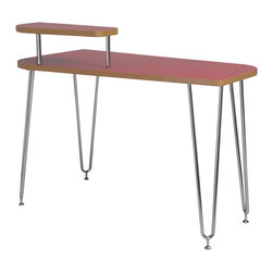 Euro Style - Hanh Desk, Shelf Right - Red/Chrome - These designs feature strong, low maintenance melamine surface and deep-v double legs for increased stability and added visual appeal. The desk also includes a corner shelf for either the right or left side of the desk. Perfect for a monitor.