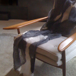 River - Hand knit throw in mohair and cashmere.  Inspired by Stacy's photographs of rivers in Ireland.