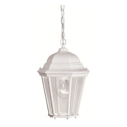 BUILDER - KICHLER 9805WH Madison Traditional Outdoor Hanging Light - With its timeless colonial profile, the Madison is the perfect line of outdoor fixtures for those looking to embellish classic sophistication. Because it is made from cast aluminum and comes in an extensive amount of different finishes, this Madison 1-light hanging lantern can go with any home decor while being able to withstand the elements. It features a White finish with clear beveled glass panels. U.L. listed for damp location.